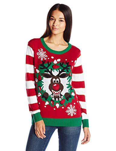 Women's Pullover Sweaters - Ugly Christmas Sweater Womens LightUp Reindeer  Wreath     Want to know more 17dae8b5515f