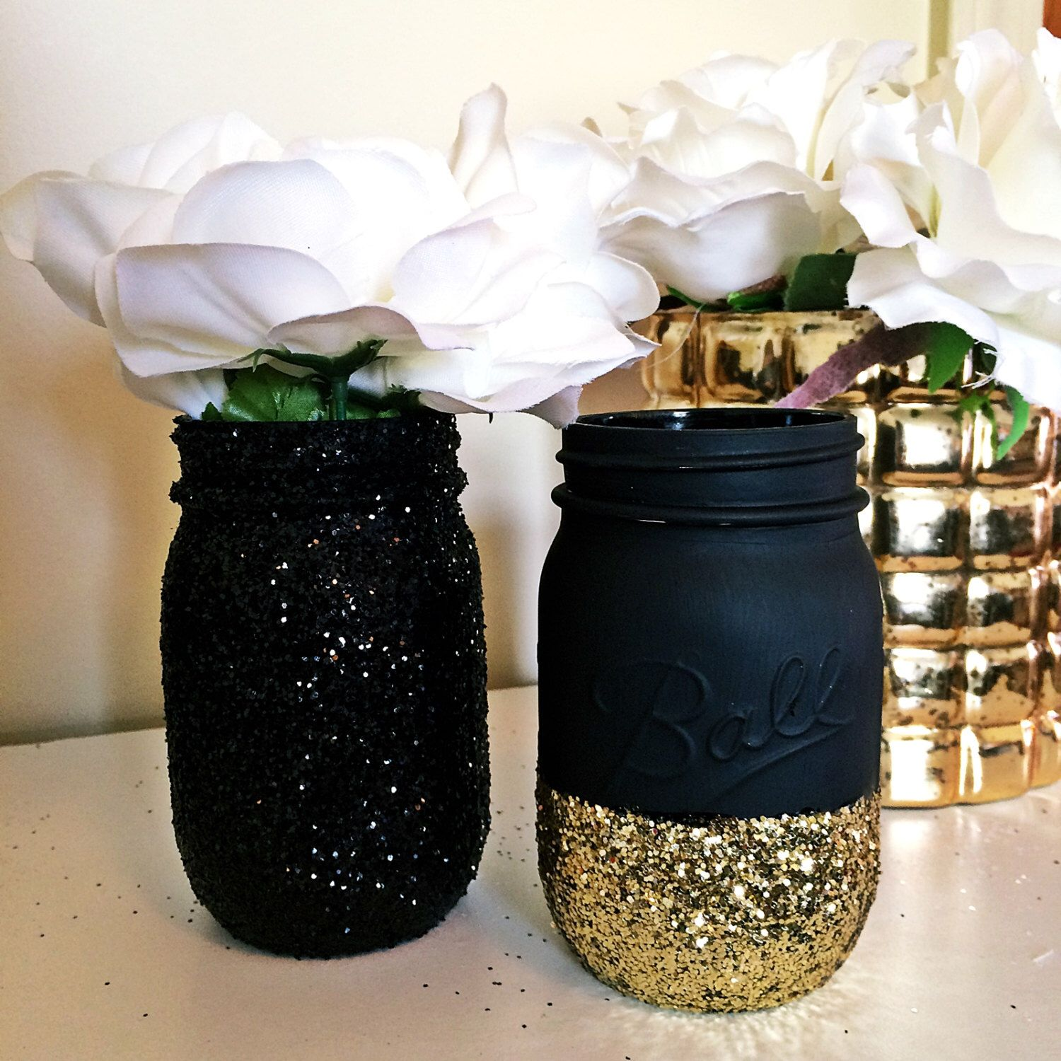 Black And Gold Mason Jar Gold Dipped Jars Gold Mason Jars Mason