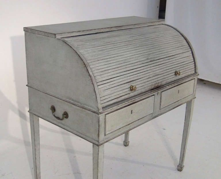 19th Century Scandinavian Swedish Roll Top Writing Desk | From a unique collection of antique and modern desks at http://www.1stdibs.com/furniture/storage-case-pieces/desks/