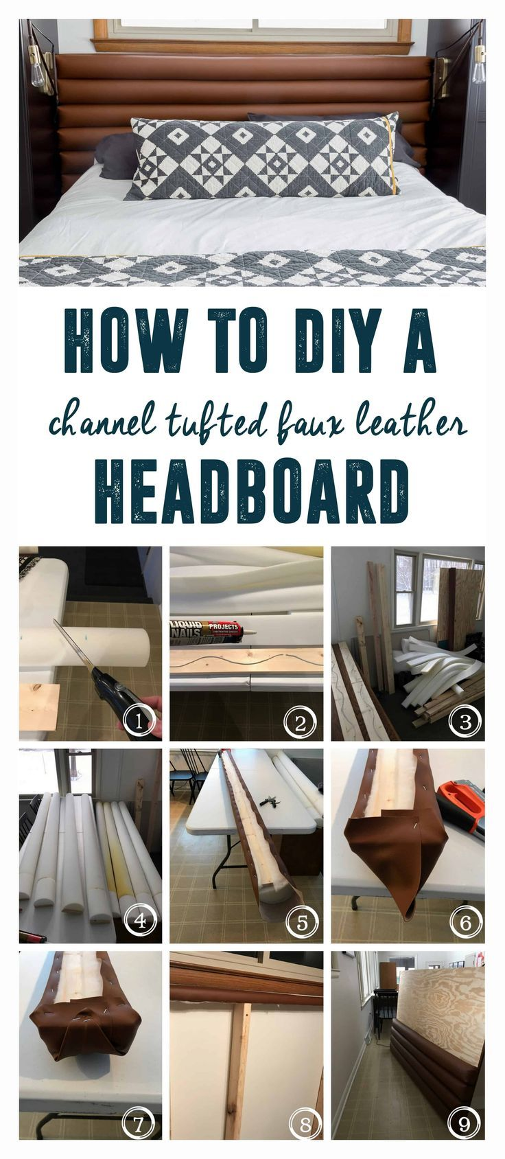 DIY Faux Leather Channel Tufted Headboard is part of Home Accents DIY Headboards - Channel Tufted Headboard, DIY Faux Leather Headboard, DIY Headboard, Channel Headboard, Faux Leather Headboard, DIY with Leather, Camel Leather Headboard, BrightGreenDoor Headboard, Bright Green Door Headboard, Modern Master Bedroom