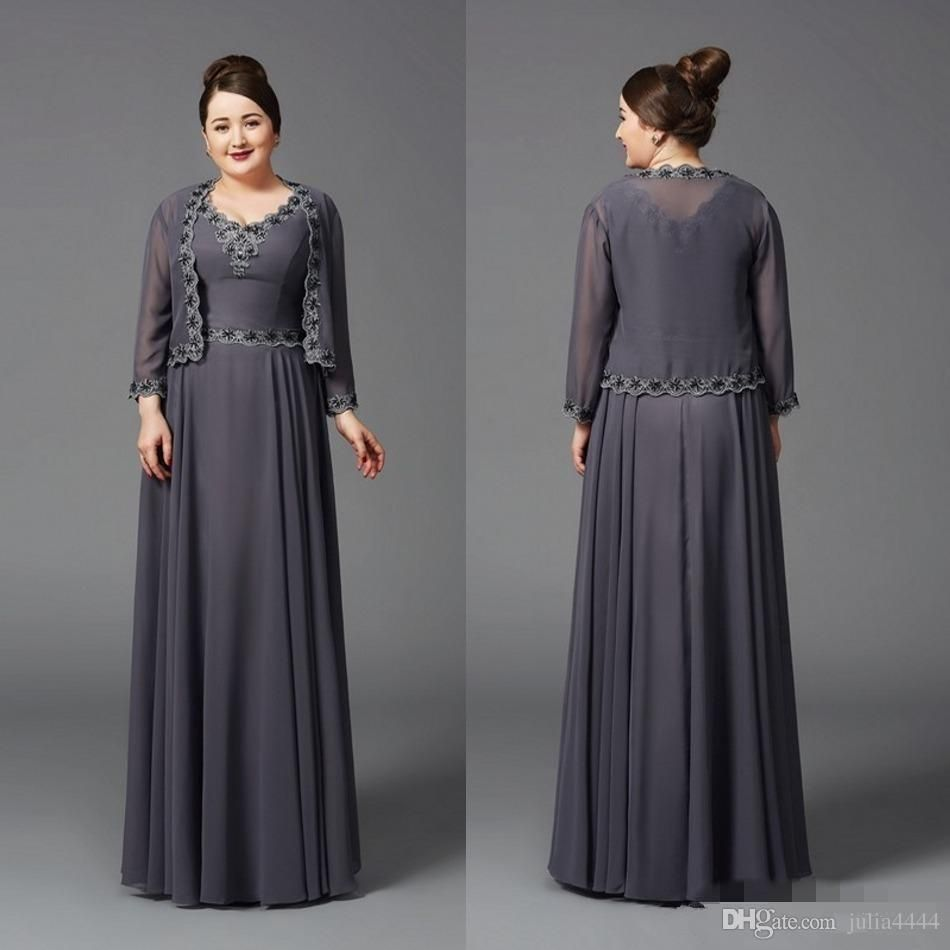 2017 cheap plus size grey chiffon mother of the bride