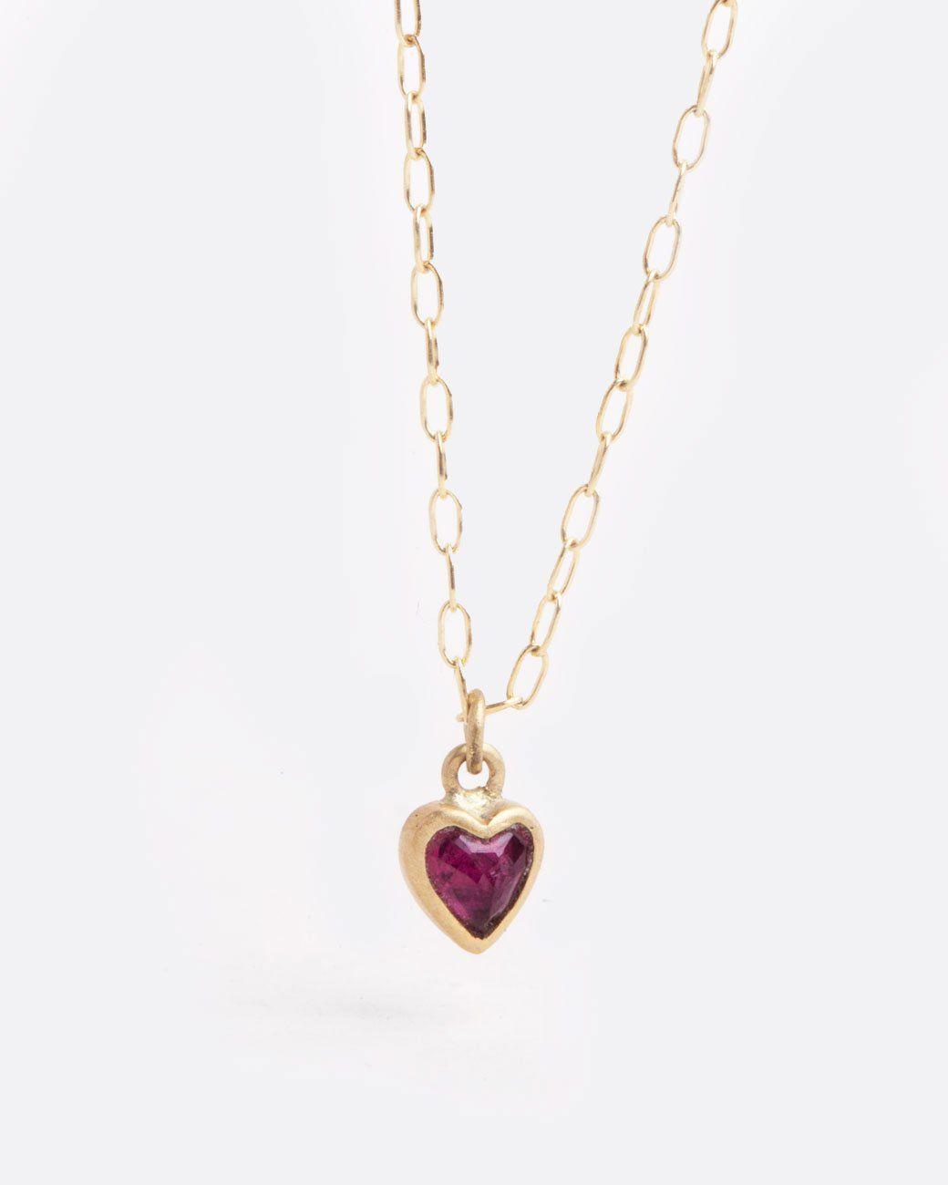 Tiny ruby heart pendant necklace baubbles pinterest pendants