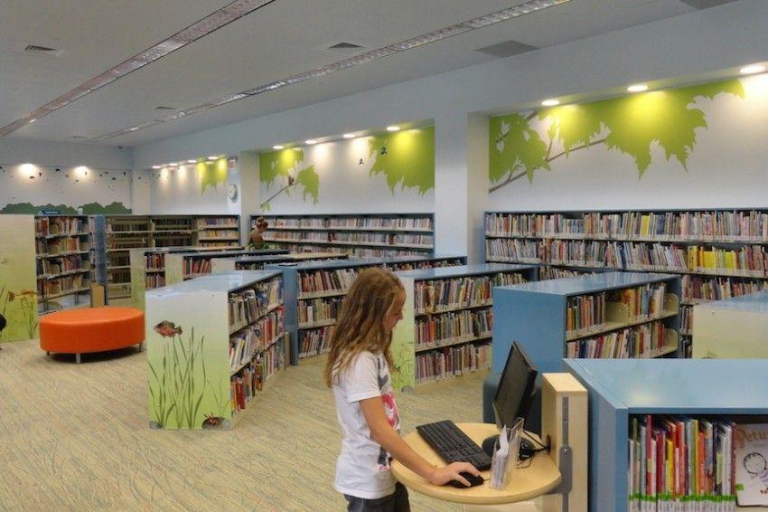 Wall Painting Children New Braunfels Public Library Childrens Library Modern Library School Library