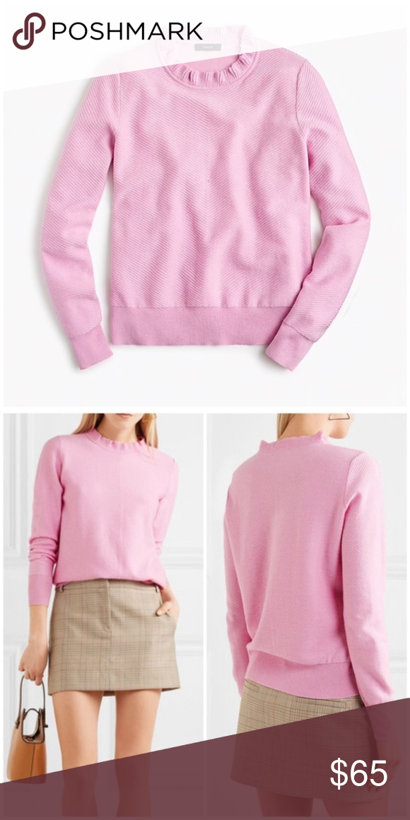 J Crew Ruffle Neck Pullover Sweater Pink Size L NEW! Ruffle neck Long  sleeves 35 df6c72408231
