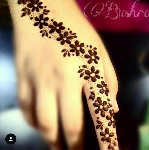 Henna Flower Design Good For Little Girls On Eid And Weddings