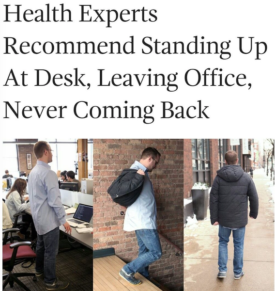 Health Experts Standing Up at Desk, Leaving