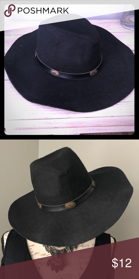 Harley Davidson Chain Band Bend-A-Brim Wool Felt Crushable Cowboy Hat Black