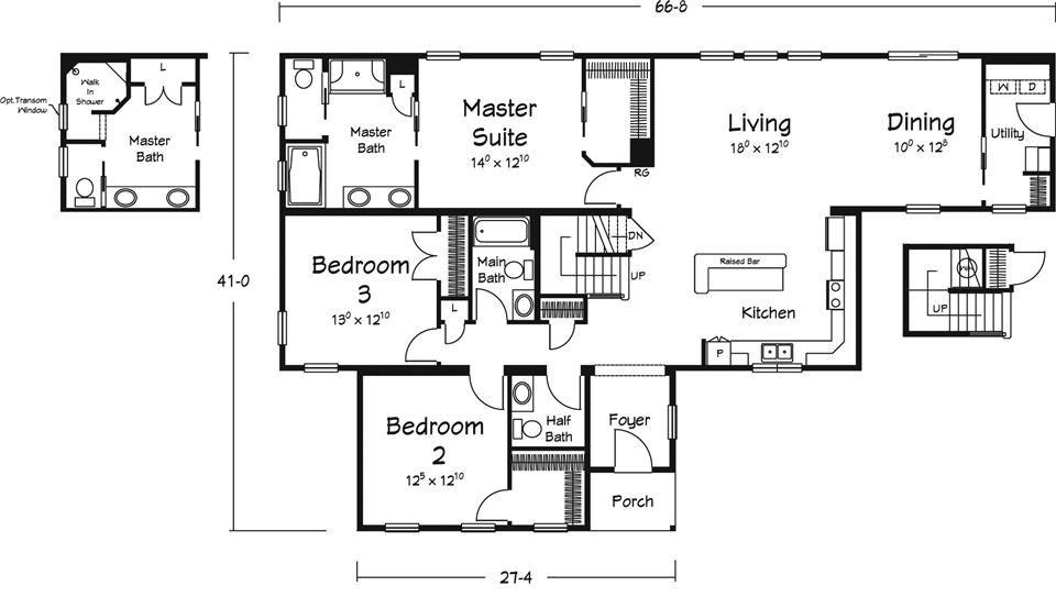 Not Bad Floor Plan For Narrow And Deep Floor Plans Modular Home