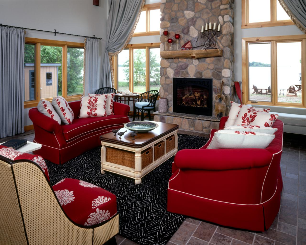 It's likely you and your guests will spend countless hours in this room, discussing and entertaining. decorating living room with red accents in 2020   Red ...