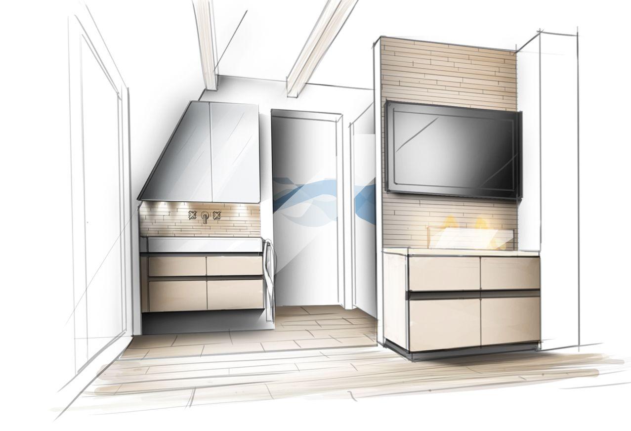 Innenarchitektur zeichnung entwurf bad innenarchitektur for Bad innenarchitektur