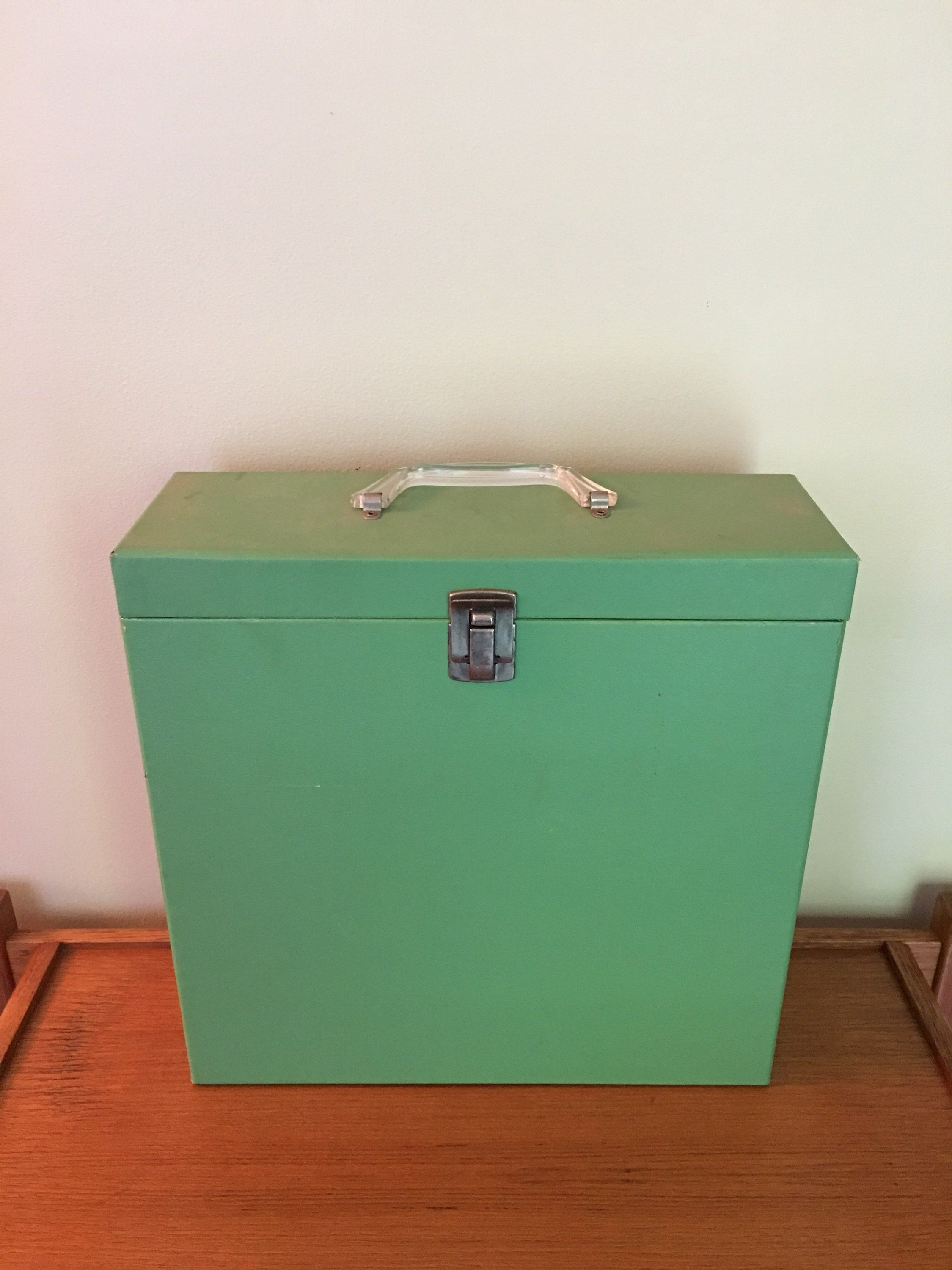 Vintage Record Storage Case Green Travel Case For Lp Record Albums Album Holder Vinyl Case Record Stora Record Storage Record Storage Box Lp Record Storage