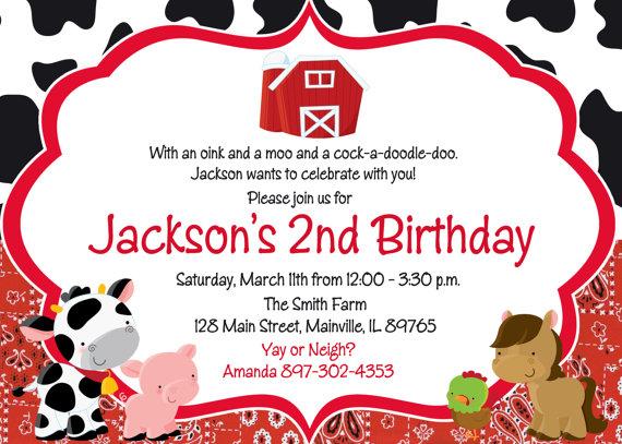 Farm Birthday Party Invitation, Digital or Printed Products Invitaciones de fiesta de