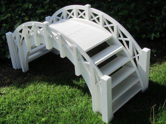 Samsgazebos Fairy Tale Wood Garden Stair Bridge With Cross Halved Lattice Railings White