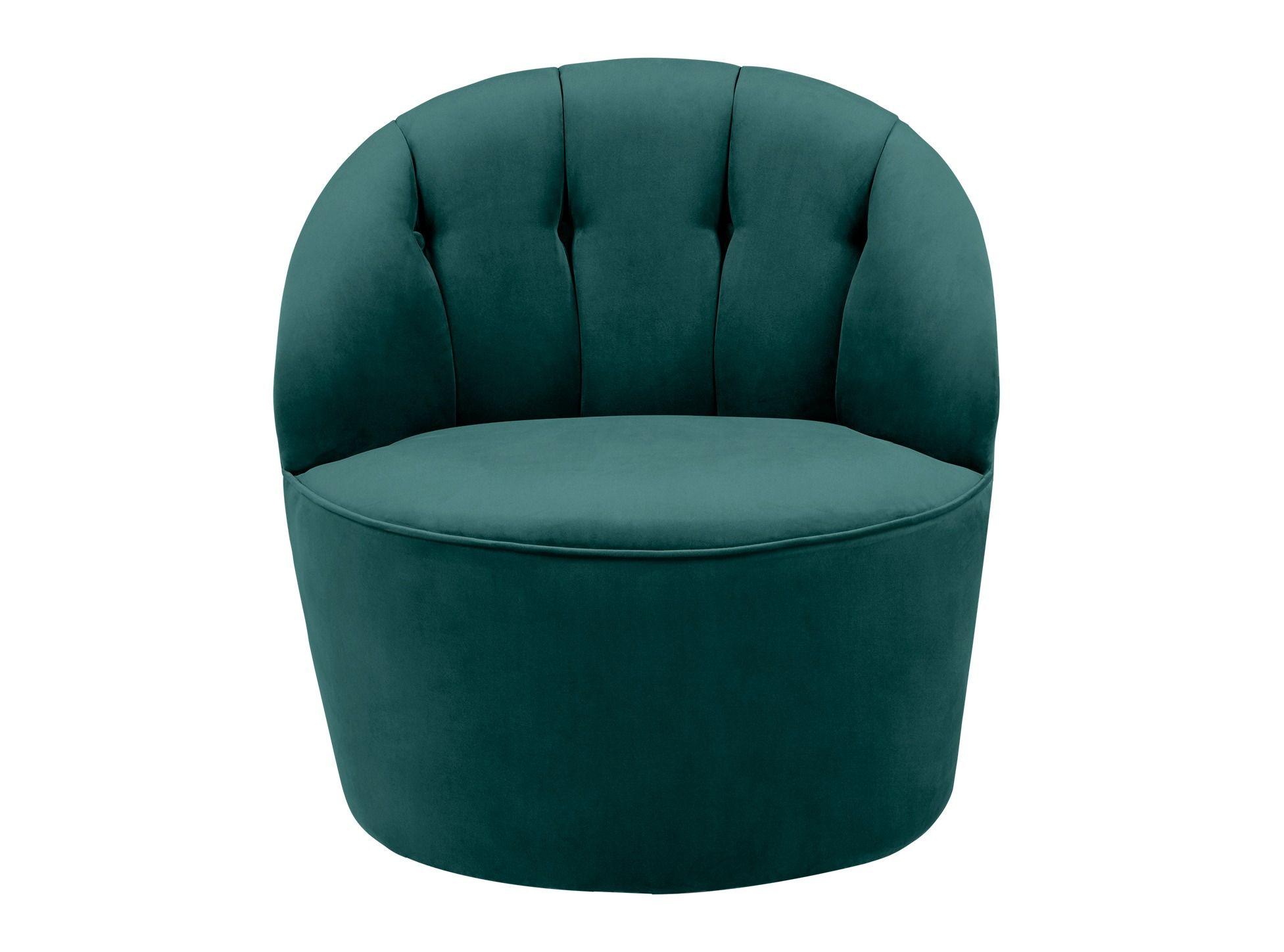 Margot, fauteuil d'appoint pivotant, velours bleu paon