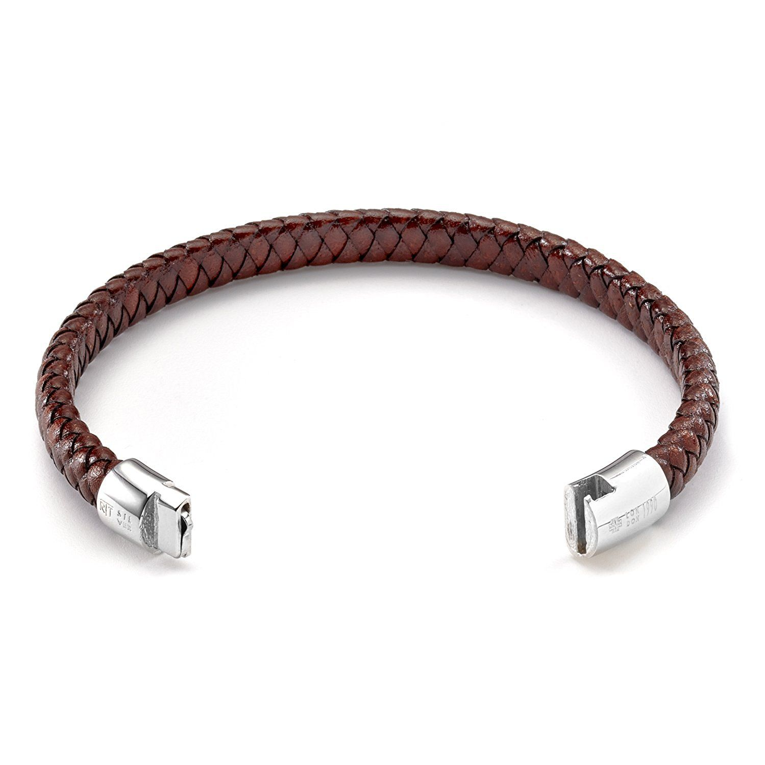 Tateossian Mens Classic Braided Leather Cobra Bracelet nmVCdVCeai