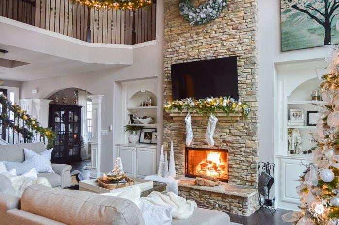 Holiday Home Showcase 2016 Christmas Home Tour Kelley Nan Big Living Rooms Living Room Ideas For Christmas Christmas Living Rooms