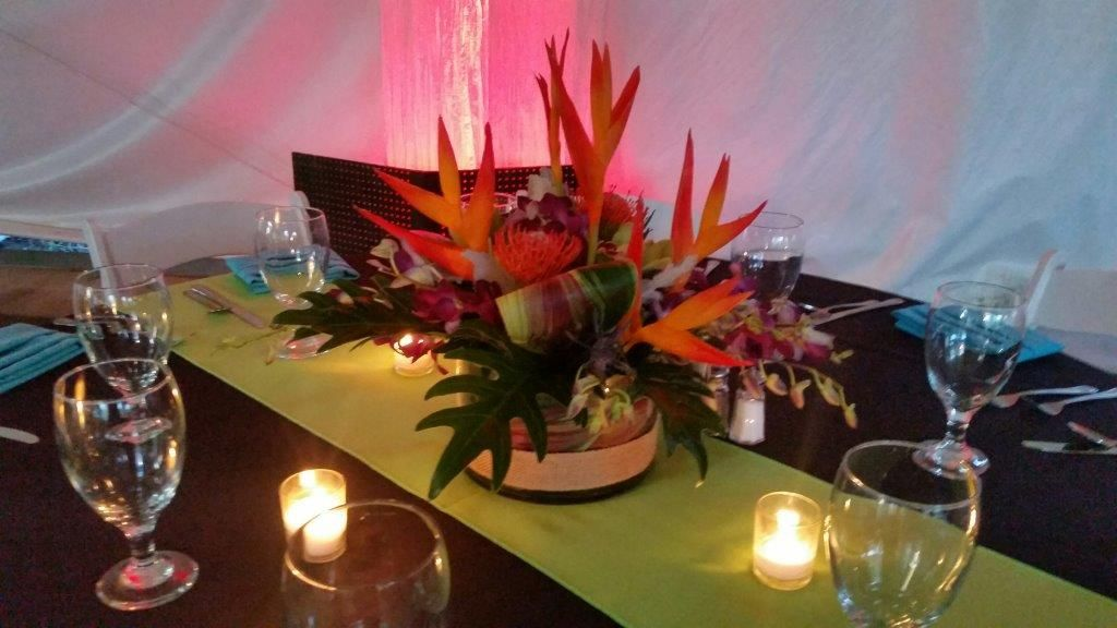 Cottonwood Open House Tropical Centerpiece Table Setting with Ambient Lighting