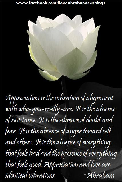 """""""Appreciation is the highest vibration we know. What we call """"being in love"""" includes also the vibration of yearning, and is not pure. But when you appreciate, you automatically allow your vibration to return to the high, fast vibration of your core."""" Abraham Hicks"""