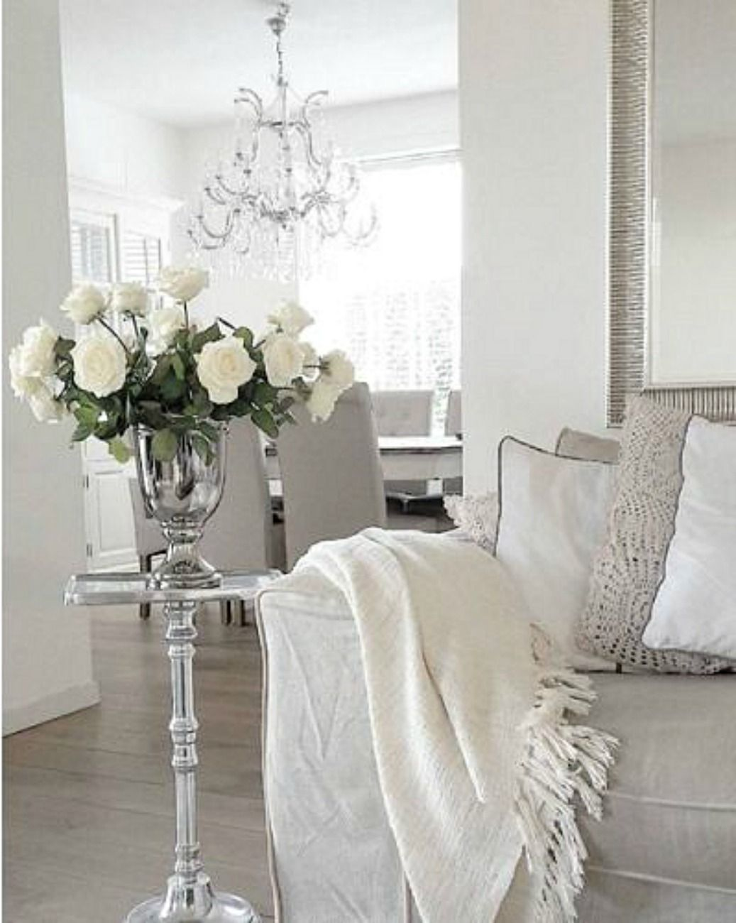 White Taupe Grey Silver And Crystal What S Not To Like Living Room Decor Furniture Silver Living Room Living Room White