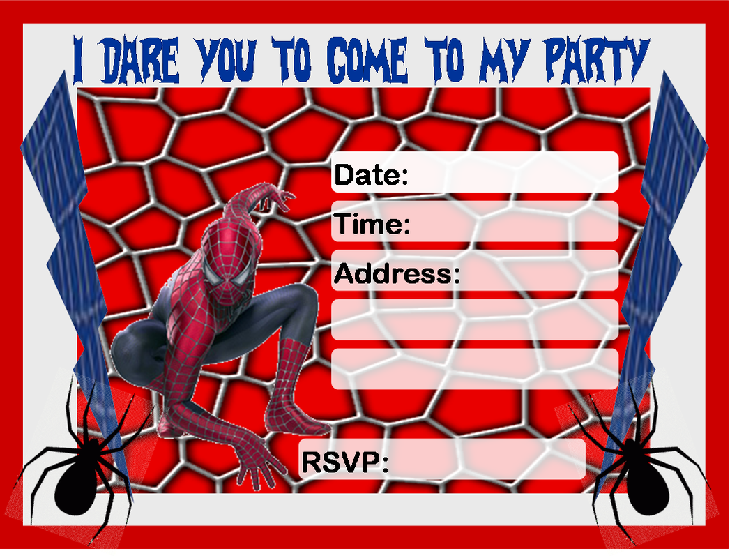 Dramatic image within printable spiderman invitations