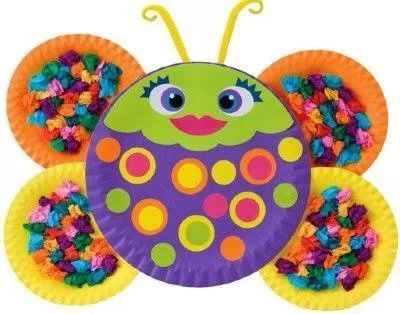 butterfly party craft using paper plates  sc 1 st  Pinterest & Mariposa platos | Trabajos manuales | Pinterest | Insects