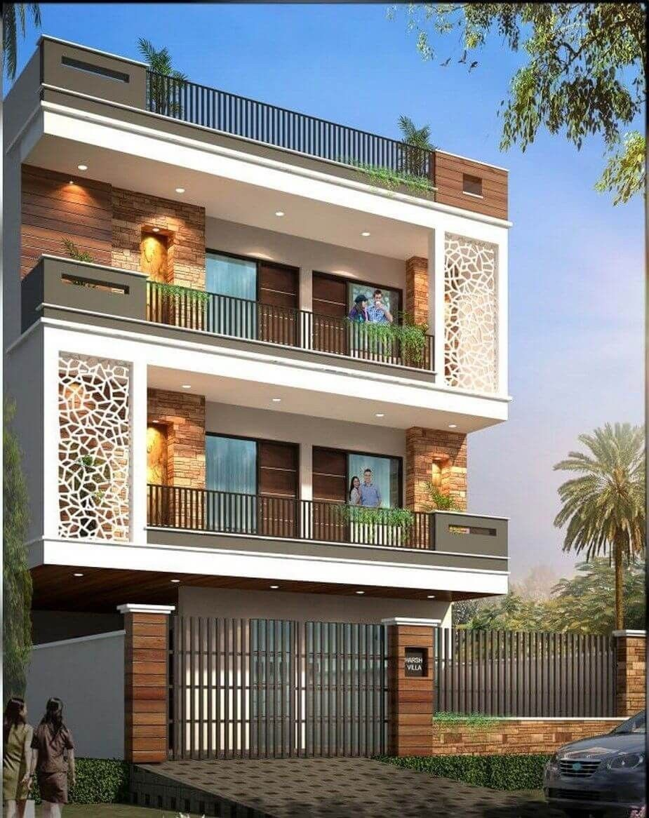 Modern Three Stories Building Exterior   House front design, 3 storey house design, Small house ...