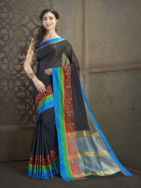 eb7af177fc4 Black Color Cotton Silk Jacquard Self Designer Saree online