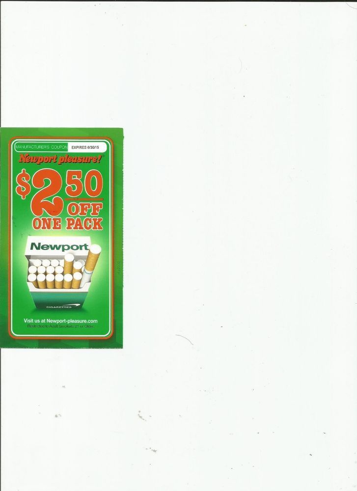 1) NEWPORT CIGARETTE COUPON $2 50 OFF ONE (1) PACK CIGS CIGARETTES