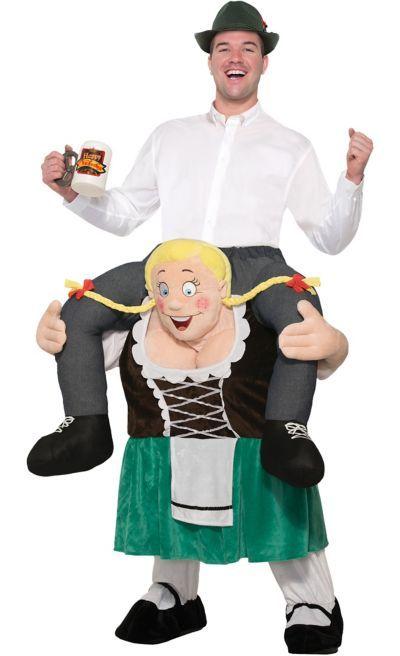 Carry Me Piggyback Bavarian Girl Beer Maid Oktoberfest Adult Fancy Dress New