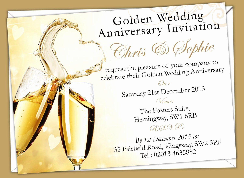 Wedding Anniversary Invitation Template Unique Golden Wedding Anniv In 2020 Golden Wedding Anniversary Invitations Anniversary Invitations 50th Anniversary Invitations