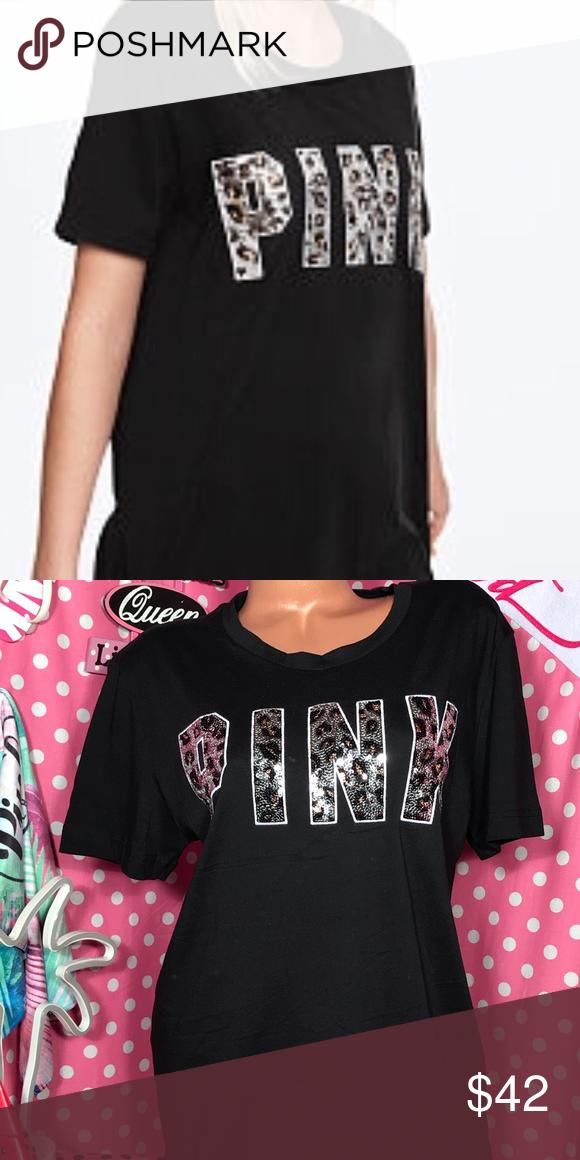 1104933e08b39 Pink VS Bling Cheetah Campus T-shirt VS pink Bling cheetah campus T ...