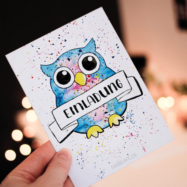 Einladungskarten Eule NEU 15 Karten (+5 Gratis). Für Kindergeburtstage Oder  Party.