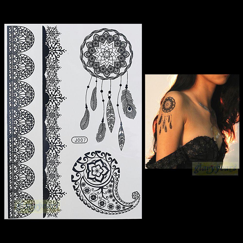 Black Henna Tattoo Uk: 1PC Fashion Flash Waterproof Tattoo Women Black Henna