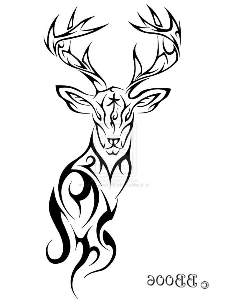 Deer Tribal Tattoos Designs 15 Nice Deer Tattoo Design Ideas Antler Tattoos Deer Tattoo Tribal Art Drawings