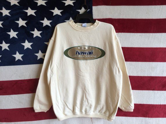 923b9ba831b10 Vintage 90s Hawaii Printed Sweatshirt Crewneck Hawaii Pullover White