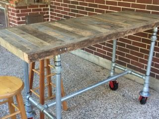 Diy Project Reclaimed Wood And Steel Hightop Bar Table On Create