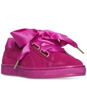 cheap for discount aff64 d6f38 Puma Women s Suede Satin Heart Casual Sneakers from Finish Line - Pink 9
