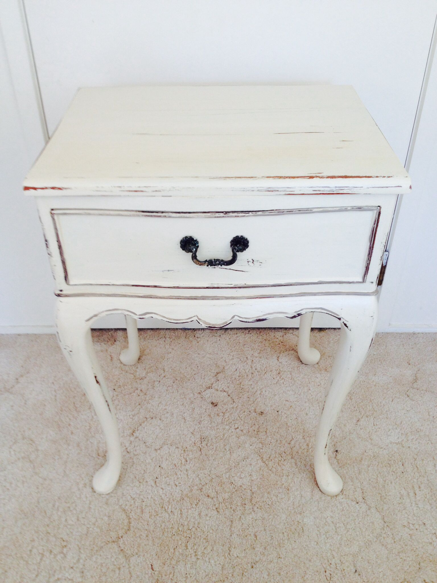 Pretty little mahogany side table painted with