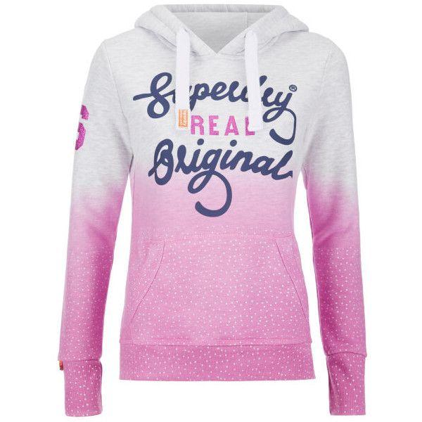 Superdry Women S Original Dip Dye Hoody Ice Marl Pink 50 Liked On Polyvore Featuring Tops Hoodies Pink Pullover Hoodies Superdry Hoodie Sw