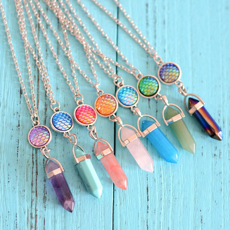 Photo of Women Fish Scale Necklace Natural Geometric Crystal Pendant Simple Jewelry