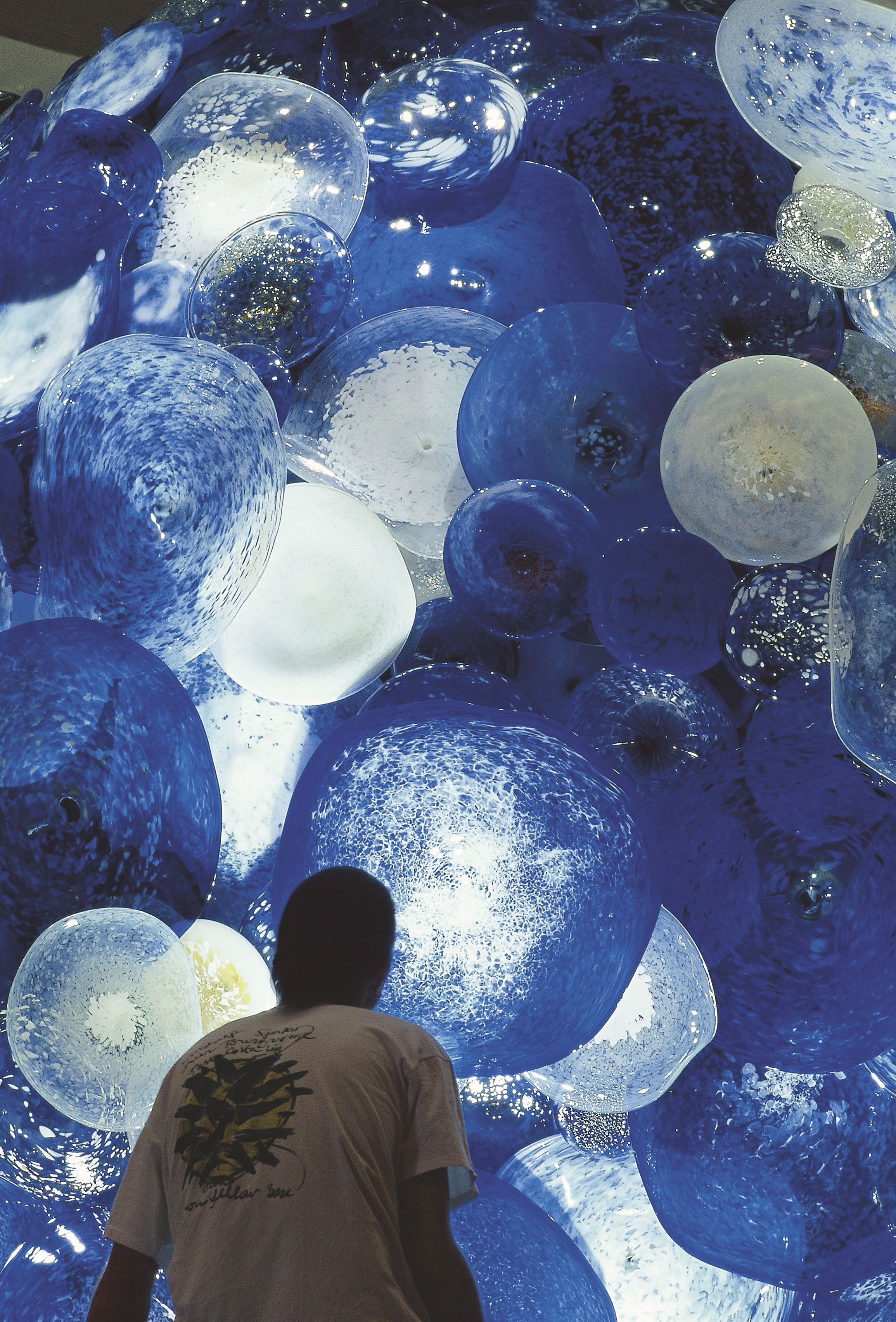Countless round glass pieces were assembled together over