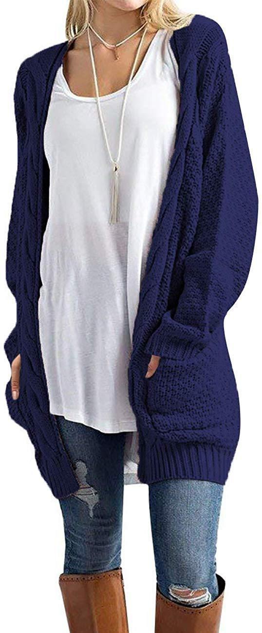 Women's Open Front Long Sleeve Boho Boyfriend Knit Chunky Cardigan Sweater