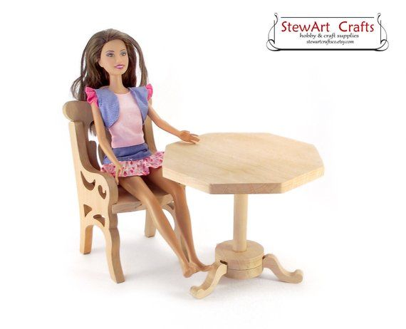 Unpainted Wooden Doll Coffee Table For 12 Inch Dolls Bjd