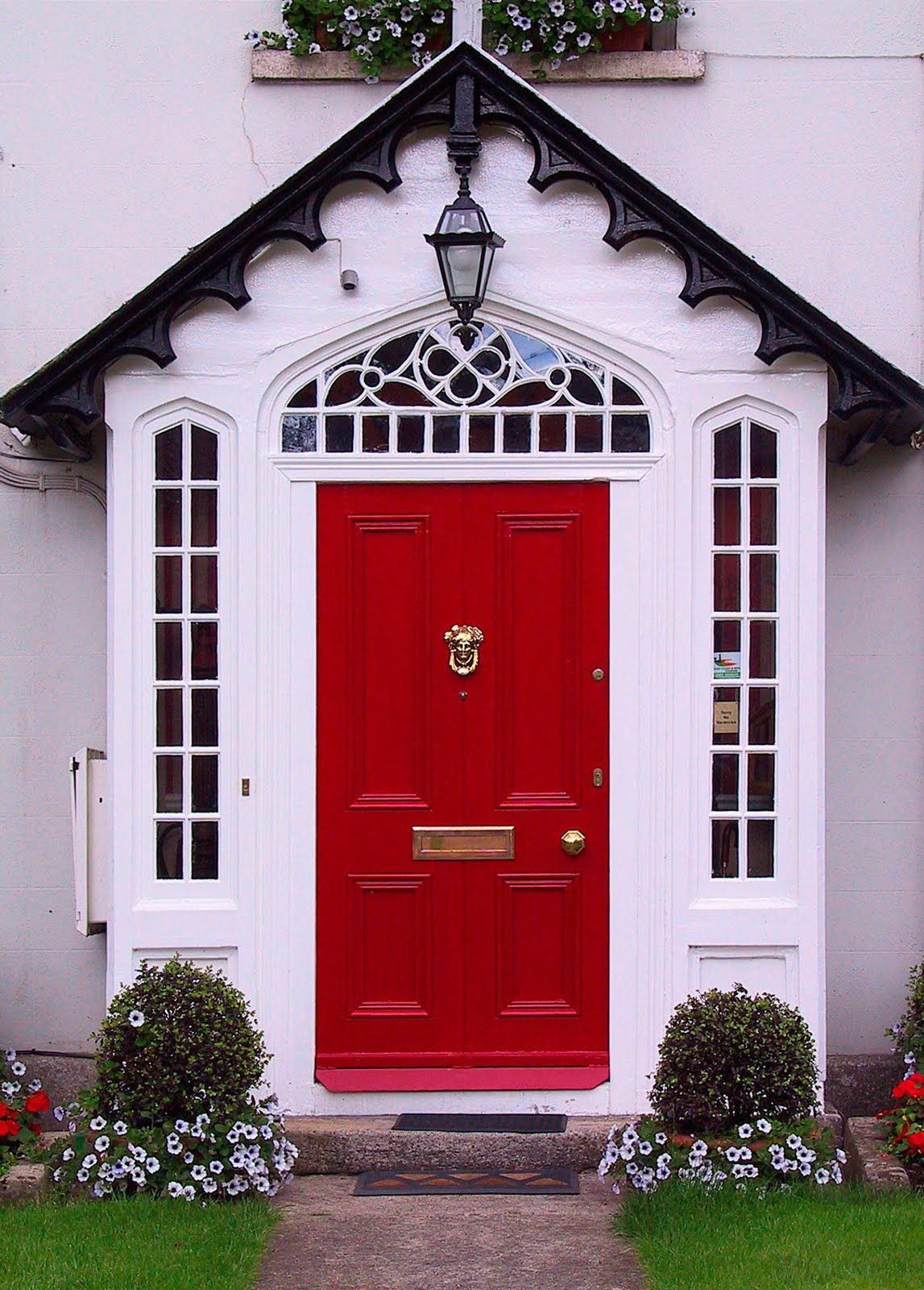 I Love The Totally Cliche White House Black Or Gray Shutters And Bright Red Door