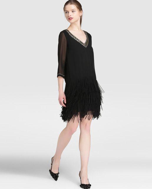 1a062c760 Vestido negro de mujer Elogy con flecos · Elogy · Moda · El Corte Inglés