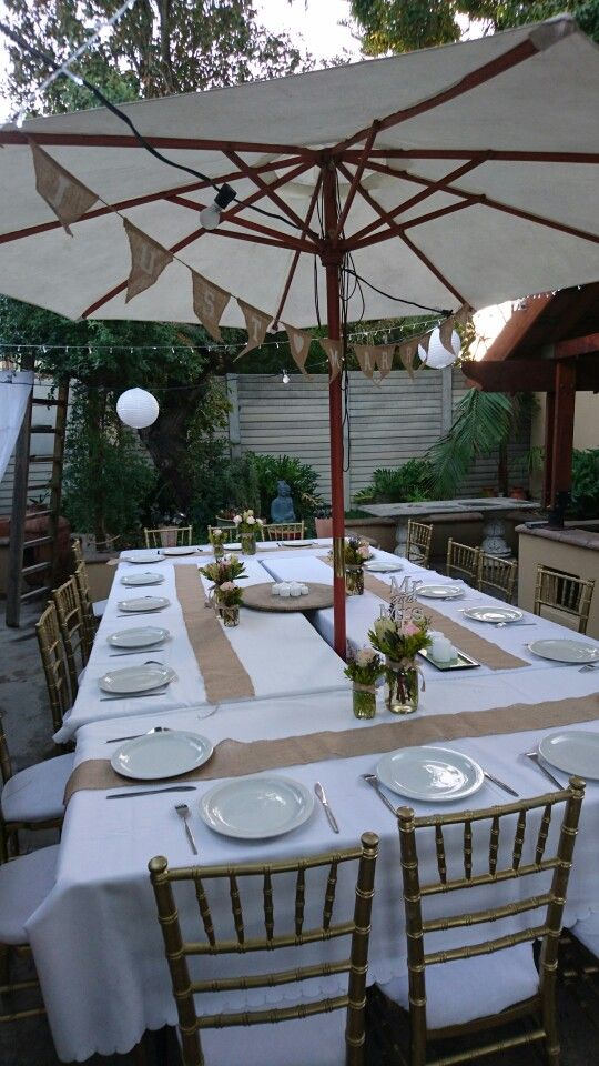starting with table setup for our backyard bbq party