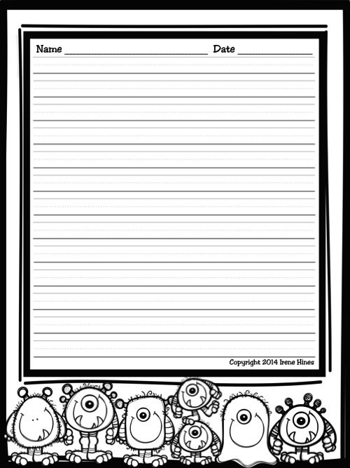 Halloween Write This Way  Decorative Printable Lined October