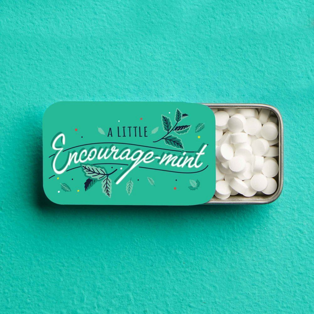 Give team members a minty pick me up with this fun tin