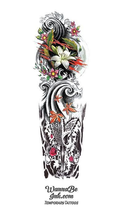 Photo of Ancient Japanese Style Dagger Dove Roses Lilly Waves Temporary Sleeve Tattoos