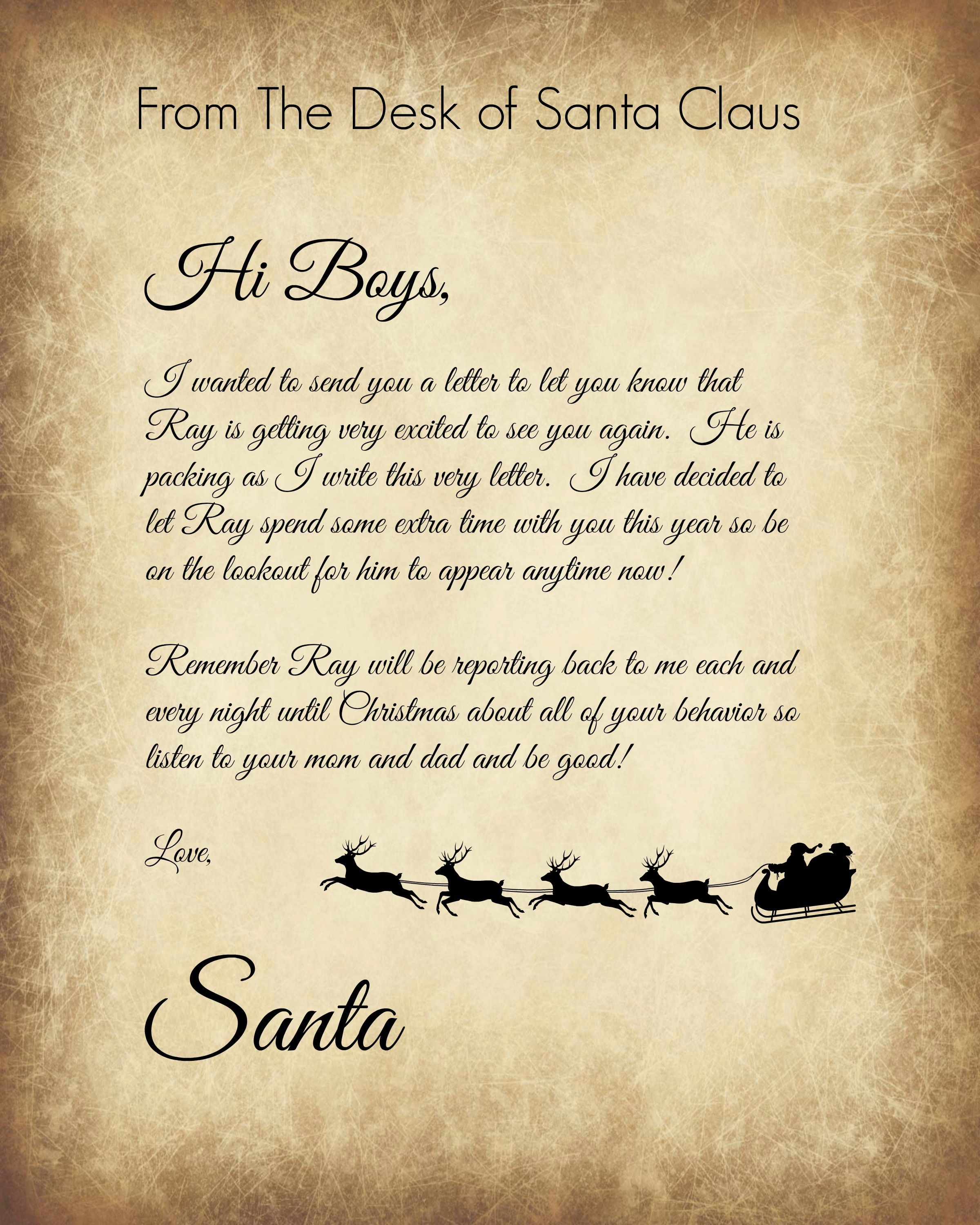 Elf on the Shelf back letter for Granite, Logan